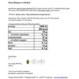 Travellunch Nudeln Bolognese 10 Tüten x 250 g